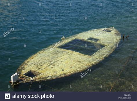 sunken boat sunken boat just under water surface stock photo 41683619