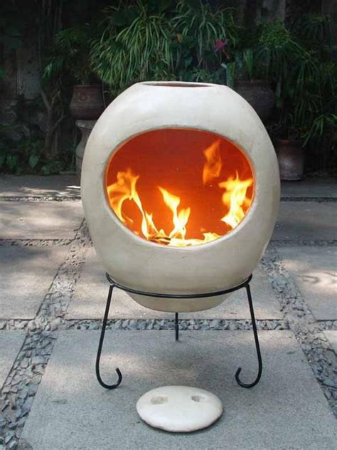 modern extra large ellipse shaped mexican chimenea  stand savvysurfcouk