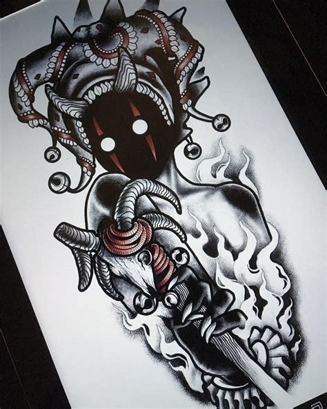 creepy tattoo ideas darkhead design blackwork creature creepy