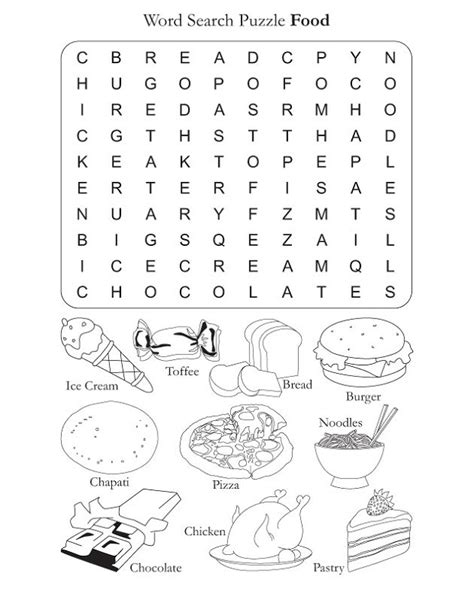 printable word search cooking food word search puzzles activity shelter