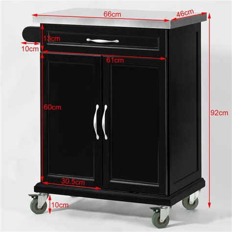 sobuy 174 wood kitchen cabinet kitchen cart trolley with