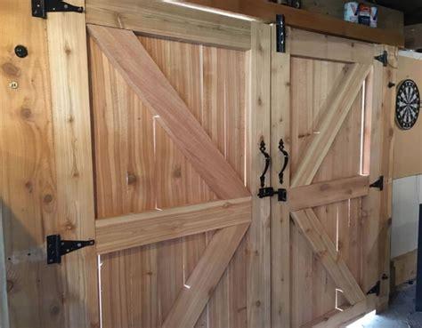 custom cedar doors built   man cave
