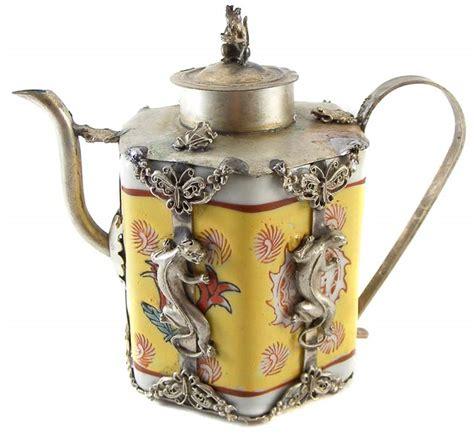 Handcrafted Teapots - vintage handcrafted tibetan porcelain silver