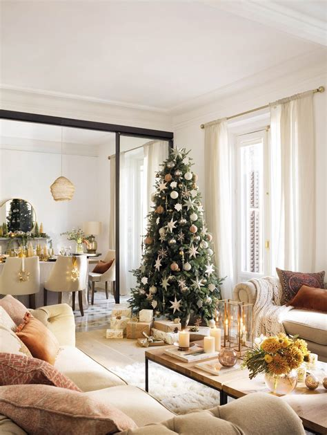 decoracion de arboles con cinta ideas de decoraci 243 n para navidad color dorado y elementos brillantes