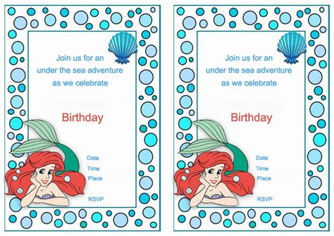 printable birthday invitations ariel little mermaid birthday invitations birthday printable