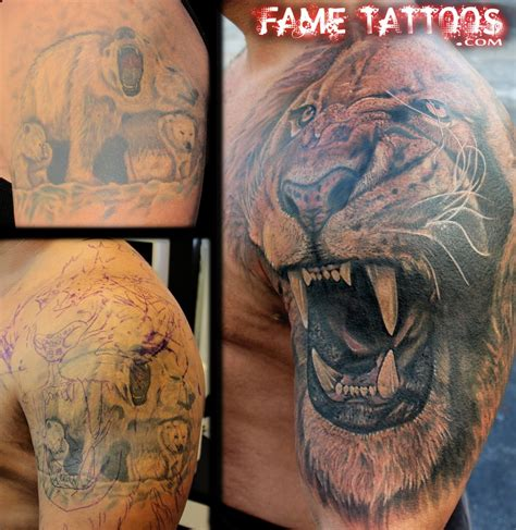 lion cover up tattoo realistic cover up yelp