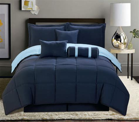 7 pc reversible comforter set king size navy blue soft new