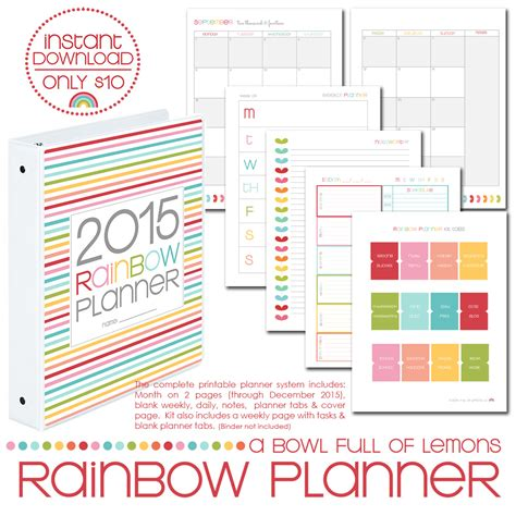 free download printable planner 2015 rainbow planner core kit dates only thru 2015 50 off