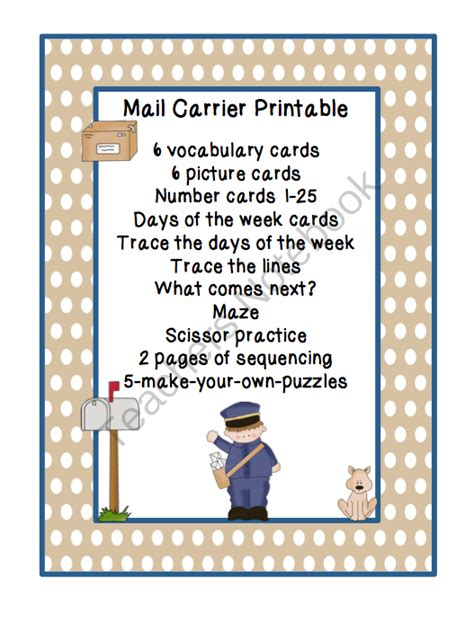 does the mailman come on mail carrier printable preschool printables