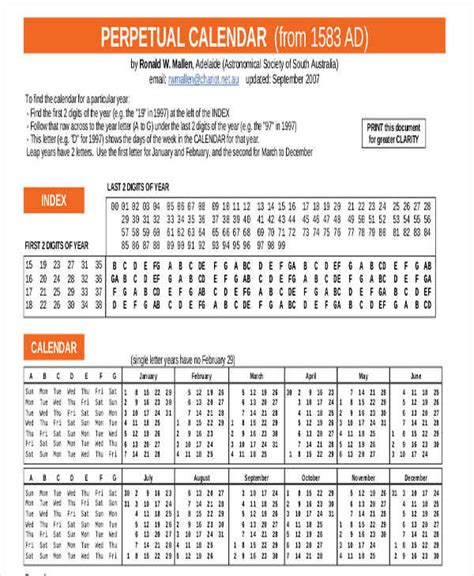 perpetual calendar template 8 perpetual calendar template free sle exle