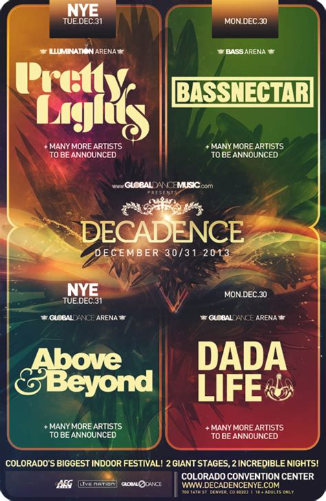pretty lights nye 2018 decadence nye 2013 schedule and preview