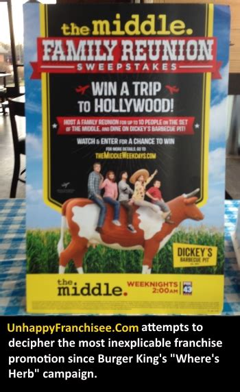 Family Reunion Sweepstakes - dickey s quot the middle quot family reunion sweepstakes contest details unhappy franchisee