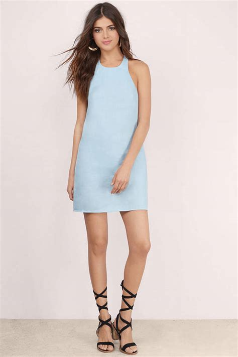 Mini Dress Md Povilo blue shift dress blue dress halter dress shift dress 25 00