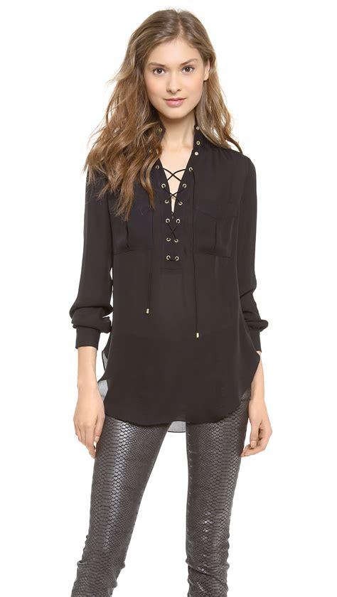 Lace Up Back Blouse black lace up blouse chiffon blouse pink