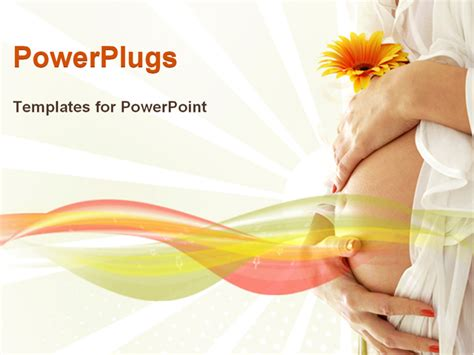 Pregnancy Template holding belly and flower powerpoint template background of health