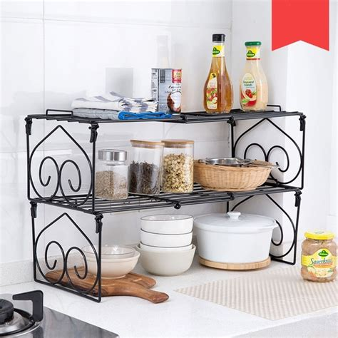 Rak Bumbu Pohon Spice Rack iron can be stacked with spices storage rack seasoning shelves kitchen table floor folding rack