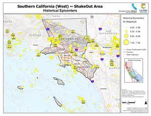 earthquake southern california map the great california shakeout southern california coast area