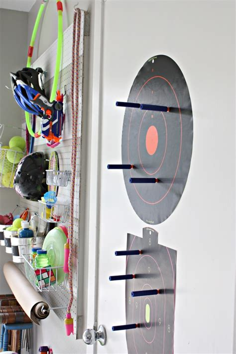 diy garage pegboard storage  outdoor toys