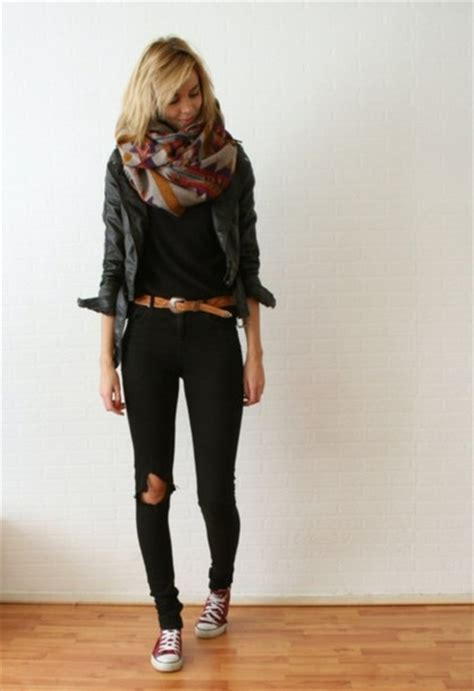 25 all black fall outfits that are anything but basic scarf aztec jeans black jeans pants casual fall
