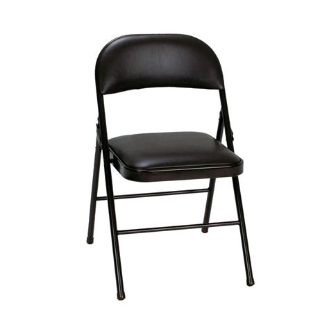 cosco black vinyl padded seat stackable folding chair set   blke  home depot