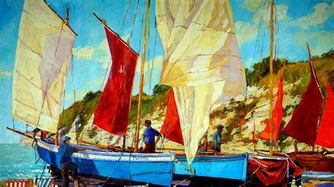 boat oil painting free illustration oil painting boat oil painting