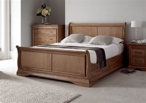 French Style Versaille Rustic Oak Sleigh Bed Light Wood Wooden Beds