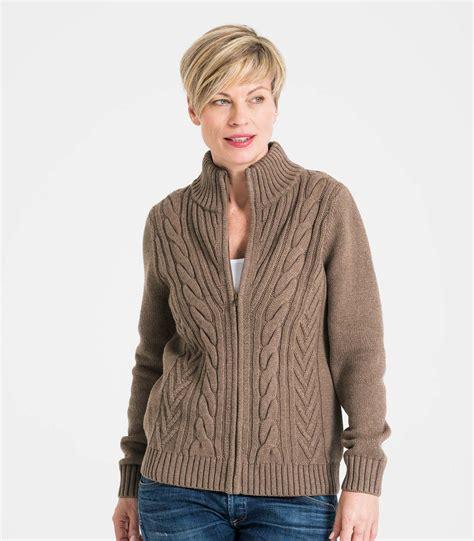 pebble wool blend womens cable zip cardigan