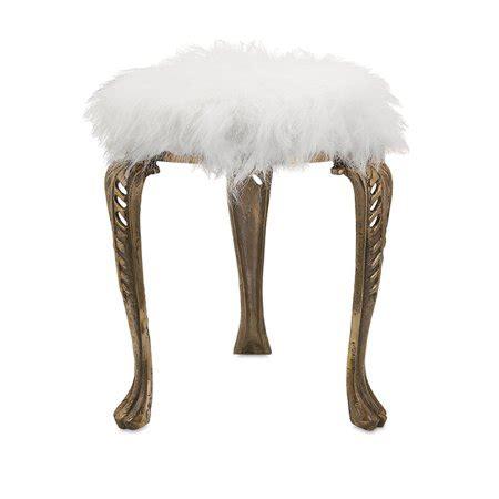high fashion white faux fur  metallic gold metal foot stool ottoman walmartcom