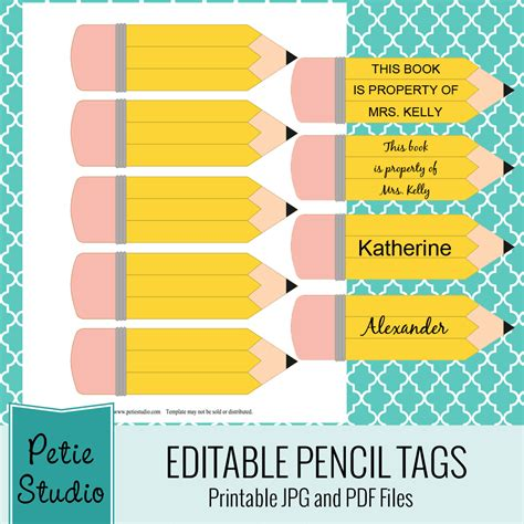 editable printable printable pencil tags editable pdf back to school