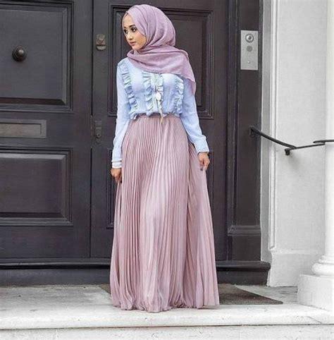 Pastel Blouse Muslim Rok Maxi Flowy style 2017 just trendy