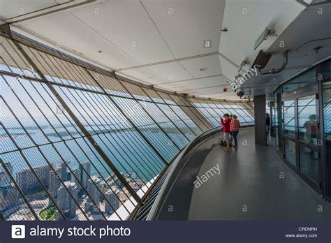 Cn Tower Interior by View Lake Ontario From The Outdoor Sky Terrace At The