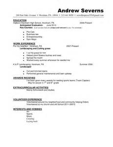 lawn care resume sle resume andrewseverns