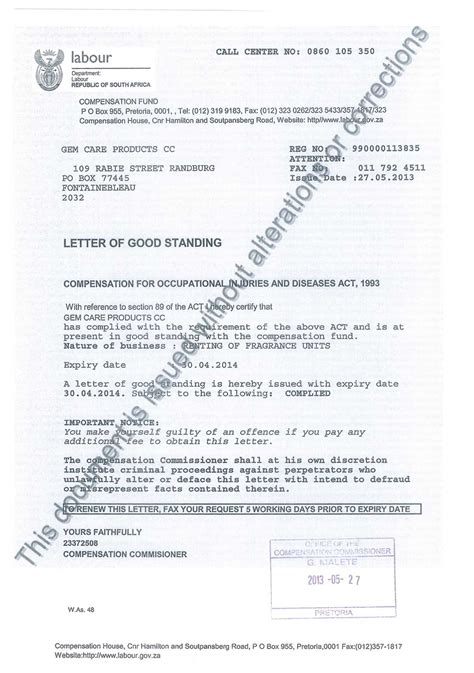 letter of standing template letter of standing levelings