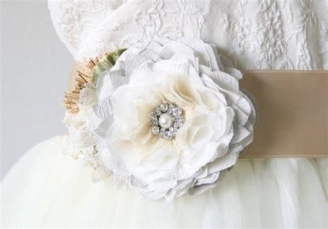 wedding dress sash light grey sash floral bridal belt