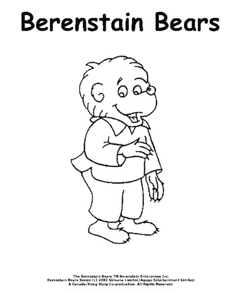 berenstain bear coloring page berenstain bears coloring pages