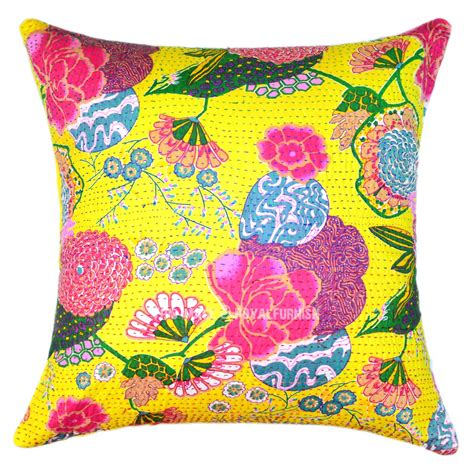 yellow pillows for sofa 24x24 yellow indian floral kantha throw pillow for sofa