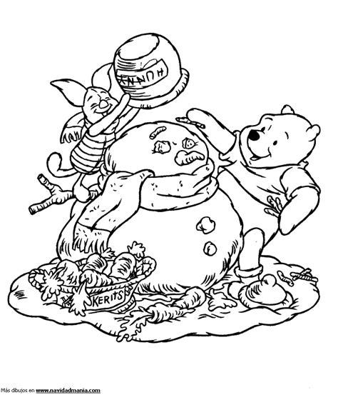 imagenes para colorear winter dibujo de piglet y winnie pu para colorear de navidad