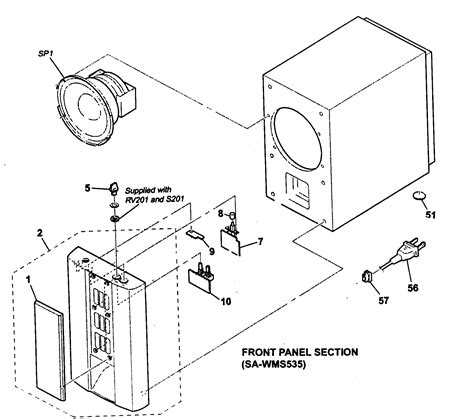 subwoofer components diagram sony speaker parts model ssms535 sears partsdirect