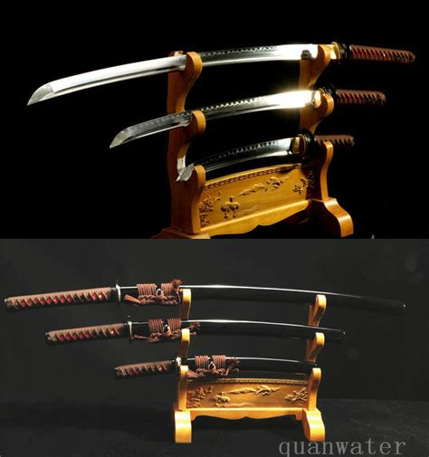 Pedang Tanto Japan Sword 1095 high carbon steel clay tempered japanese swords set katana walizashi tanto in swords from