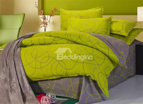 Abstract Bedding Sets 100 Cotton Green And Coffee Abstract Pattern 4