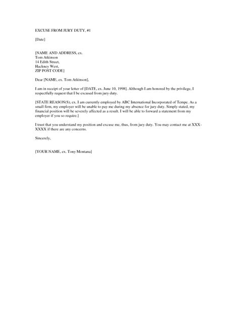 Excuse Letter Jury Duty Amazing And Stunning Jury Duty Excuse Letter Sle 2017 Letter Format