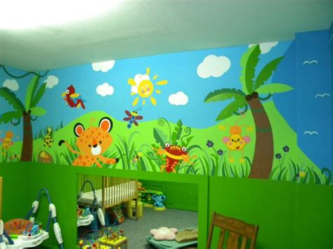 daycare jungle mural complete wall  mural ideas