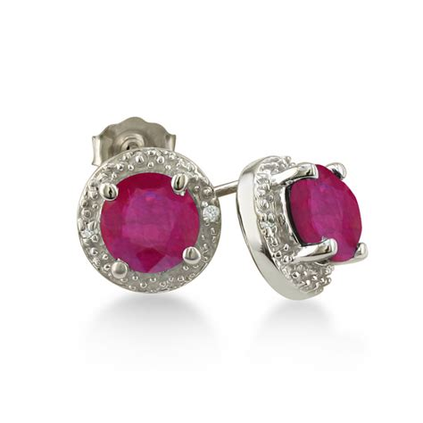Ruby 11 2ct 2ct ruby halo earrings 10k white gold july