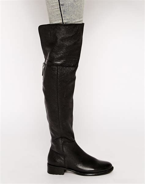 the knee black boots lyst dune torz black flat the knee boots in