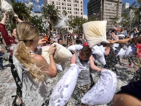 pillow fight in downtown los angeles on april