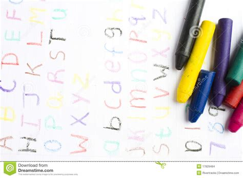 crayons that only write on paper childrens writing with wax crayons stock photo image