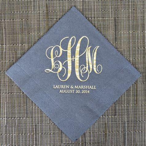 Wedding Napkin Fonts by Personalized Wedding Vine Monogram Napkins Bordered