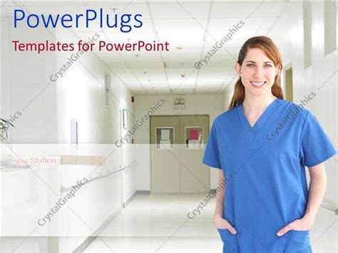 powerpoint themes for hospital powerpoint template female nurse in blue scrubs standing