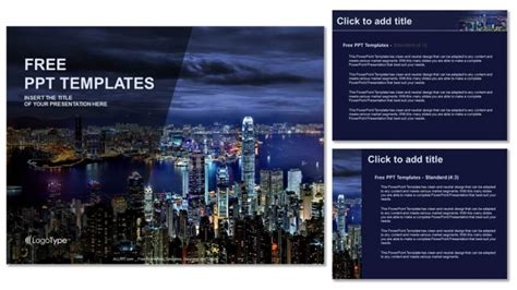 hong kong at night powerpoint templates