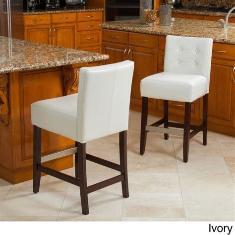 christopher bar stools overstock christopher home tate tufted leather counter stools
